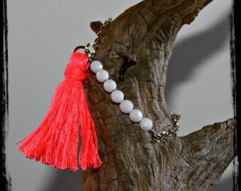 Tassel Bracelet, Sterling Silver, Faceted White Agate Beads, Flourescent Handmade Tassel Bracelet AD1759XX