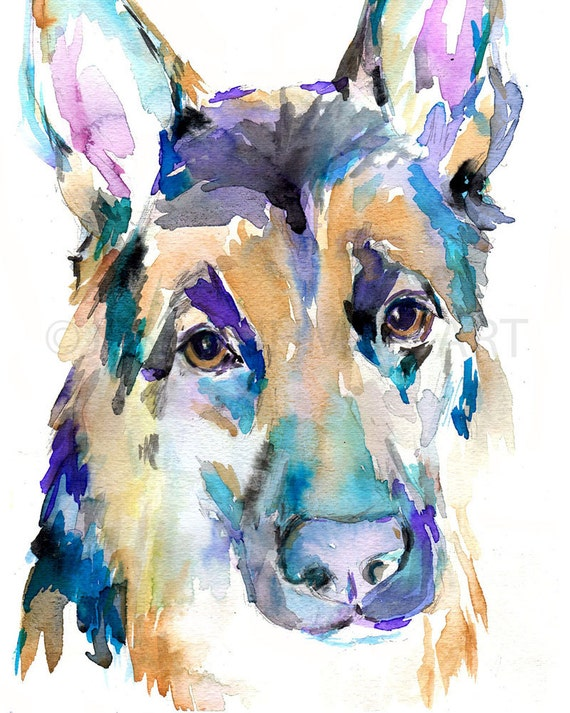 German shepherd watercolor print dog watercolor by for Dog painting artist