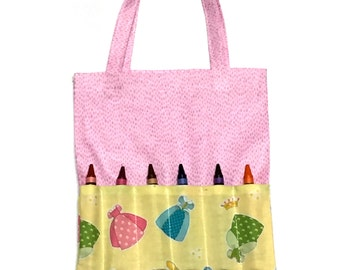 Crayon Holder -  Crayon Tote - Pink Tote -  Crayon Holder - Activity Pad holder