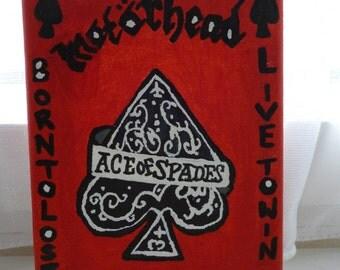 Charity Handmade Motorhead Ace of Spades Lemmy Kilmister Memorial A5 Canvas Painting Art Home Decor Gifts