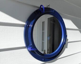 15 inch ship port hole / porthole mirror / beach decor / nautical decor