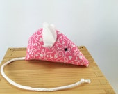 Floral Mouse Cat Toy, Pink Cat toy, kitten toy, white pink