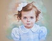 Pastel portrait of a girl. Siblings Head and shoulders portrait