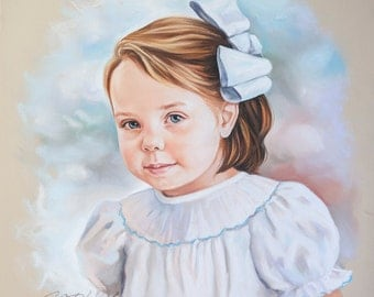 Pastel portrait of a girl. Head and shoulders portrait