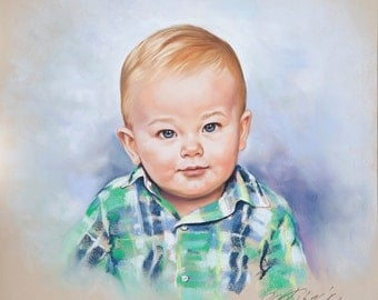 Pastel Portrait of a baby boy, commission child portrait, original pastel painting