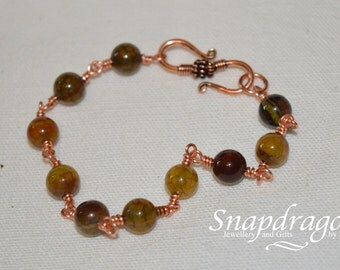 Copper wire wrapped agate bead bracelet