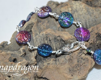 Purple iridescent rainbow Czech glass crystal bead bracelet