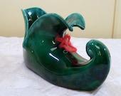 Vintage Christmas Elf Ceramic Trinket Dish Shoe Flower Pot Emerald Green Decoration