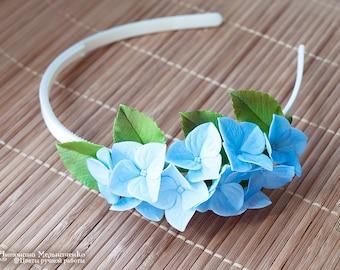 Headband  Hydrangea Hairband - Polymer Clay Flowers