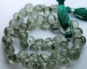 8 Inch Strand,Natural Green Rutilated Quartz Faceted Onion Shape Briolettes,5-7mm aprx.