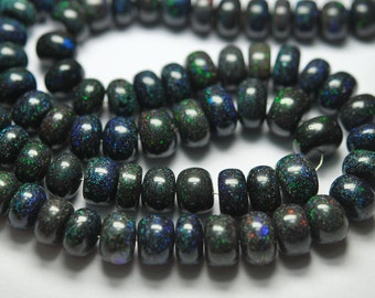 8 Inch Long, AAA Quality,Natural AUSTRALIAN Black Matrix Opal Smooth Rondelles,8-10mm size