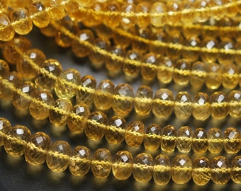 1/2 Strand,CITRINE Micro Faceted Rondelles,8-9mm Size,Super Quality