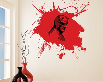 Vinyl Wall Decal Scary Devil Mask Hero with Horns / Bloody Face in Costume Mask Helmet Removable Sticker Mural + Free Random Decal Gift!