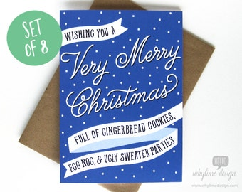 Set of 8 Wishing You a Very Merry Christmas Cards