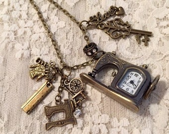 Sewing Machine, Pocket Watch, Pendant Necklace.  Antique Bronze Tone.