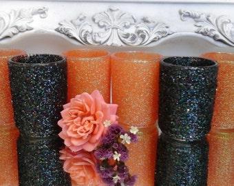 glitter votives  bright orange glitter and formal black glitter weddings Halloween special occasion 1.99 each