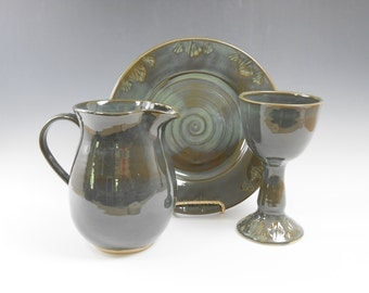Chalice and paten pottery communion set - chalice and paten set - dark green communion set - liturgical ware - communion ware W187