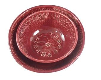 Nesting bowl set - ceramic bowl set - cherry red nesting bowls - stacking bowls -  pottery nested bowls   B106