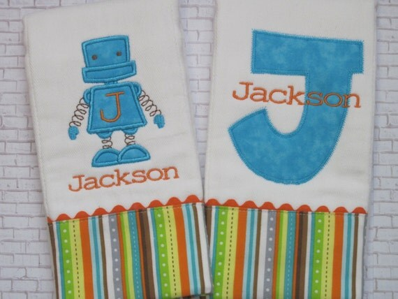 Personalized Baby Boy Burp Cloths - Super Special ROBOT theme