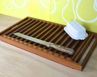Selandia Teakwood Bread Cutting Board w Crumb-catching Tray   2-part Teak Danish Modern Rectangle Bread Serving Board made in Thailand