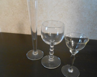 1940's Lot of 3 Different Vintage Glasses