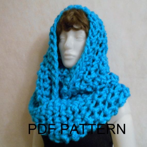 Knitting Pattern Infinity Scarf Straight Needles : PDF KNITTING PATTERN for super chunky infinity scarf cowl