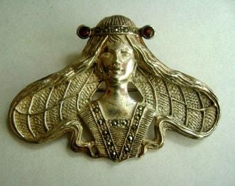 vintage sterling marcasite woman brooch