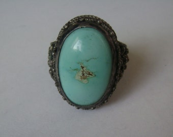 vintage chinese export turquoise ring, size 7 and a half