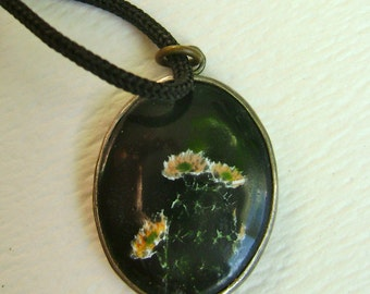 vintage sterling cactus flower pendant necklace