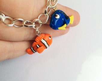 Finding Nemo and Dory Inspired Charm Bracelet or Necklace Handmade Polymer Clay
