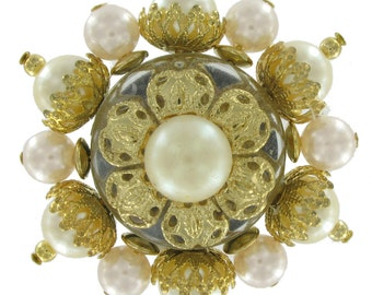 Vintage Beaded Brooch Pin Cluster Faux Pearl White Cream 1960-70s