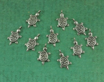 Silver Turtle Charm - Package of 10
