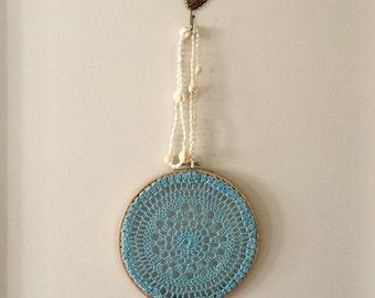 Hoop Art crotchet blue pattern wooden wall hanging