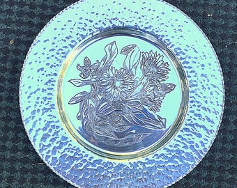 Vintage hammered aluminum Rodney Kent signed charger plate or Tray Art deco aluminum