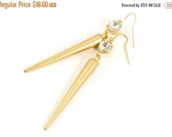 SALE 20% OFF SALE Gold Spike Drop Earrings, Spike and Crystal Earrings, Rhinestone and Gold Spike Dangle Earrings, Basketball Wives Jewelry