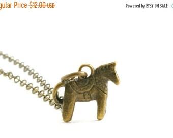 SALE 20% OFF SALE Tiny Dala Horse Necklace, Horse Necklace, Horse Charm