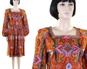 Vintage 1960s Women's Dress / Paisley / Wilroy Traveller / Orange, Black, Purple / Mod Dress