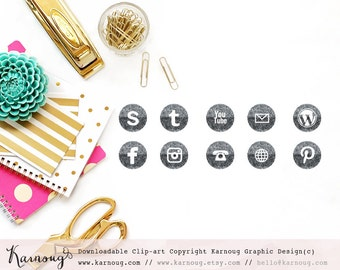 Glitter Grey Social Media Icons, Clip Art, Downloadable Clip Art, Social Media Icons, Grey Social Media, Sparkle Icons, Web Buttons