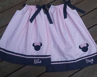 Girls Minnie Mouse Pillow Case Dress and matching doll dress option- Pink Cevron/Black Dot-Disney Vacation Dress