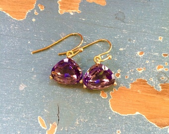 Glass Triangle Earrings - Stone Triangle Earrings - Tanzanite - Blue - Champagne - Purple - Gold Plated - Bridal - Gifts for Her -