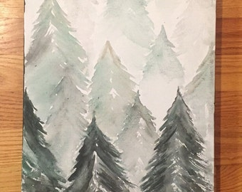 Watercolor Evergreen Tree Painting - 14x11 - Winter Home Decor