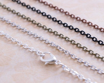 25- 18 inch Petite Charm Necklace Chains  - Antique Silver Chain - Antique Copper Chain - Brass Chain - Black Chain - Shiny Silver Chain