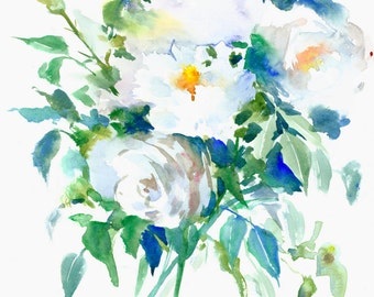 White Roses 14 X 11 in original watercolor painting, white flowers asian style zen brush painting