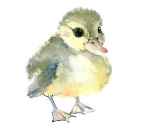 Baby Duck art 12 x 12 in original watercolor painting