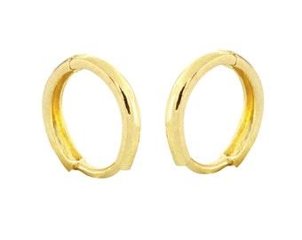 10k Yellow Gold Hoop Earrings 11mm Hinged Hoops