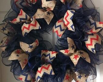 Primitive..Vintage Patriotic Burlap Deco Mesh Wreath