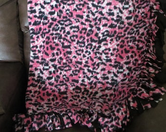 Leopard Fleece Blanket/Throw...Pink and Black..No Sew..Reversible..Double layer..Fringe..Hand tied..Gift