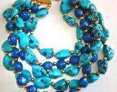 Faux Turquoise Lapis 5 Multi Strand Necklace, PAOLO BELLINI, Massive Runway, Vintage