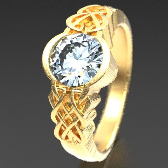 Gold Celtic Moissanite With Dara Knot Style Design in 10K 14K 18K or Palladium, Made in Your Size Cr-1032