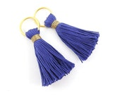 Royal Blue Handmade 100% Cotton Thread Large Loop Ring Tassels -  2.36 inches - 60mm  - 2 pc